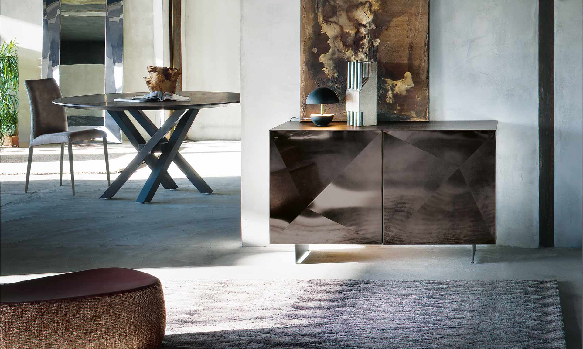 Italian Design Modern sideboard CUBRIC steel diamond by Riflessi-titane