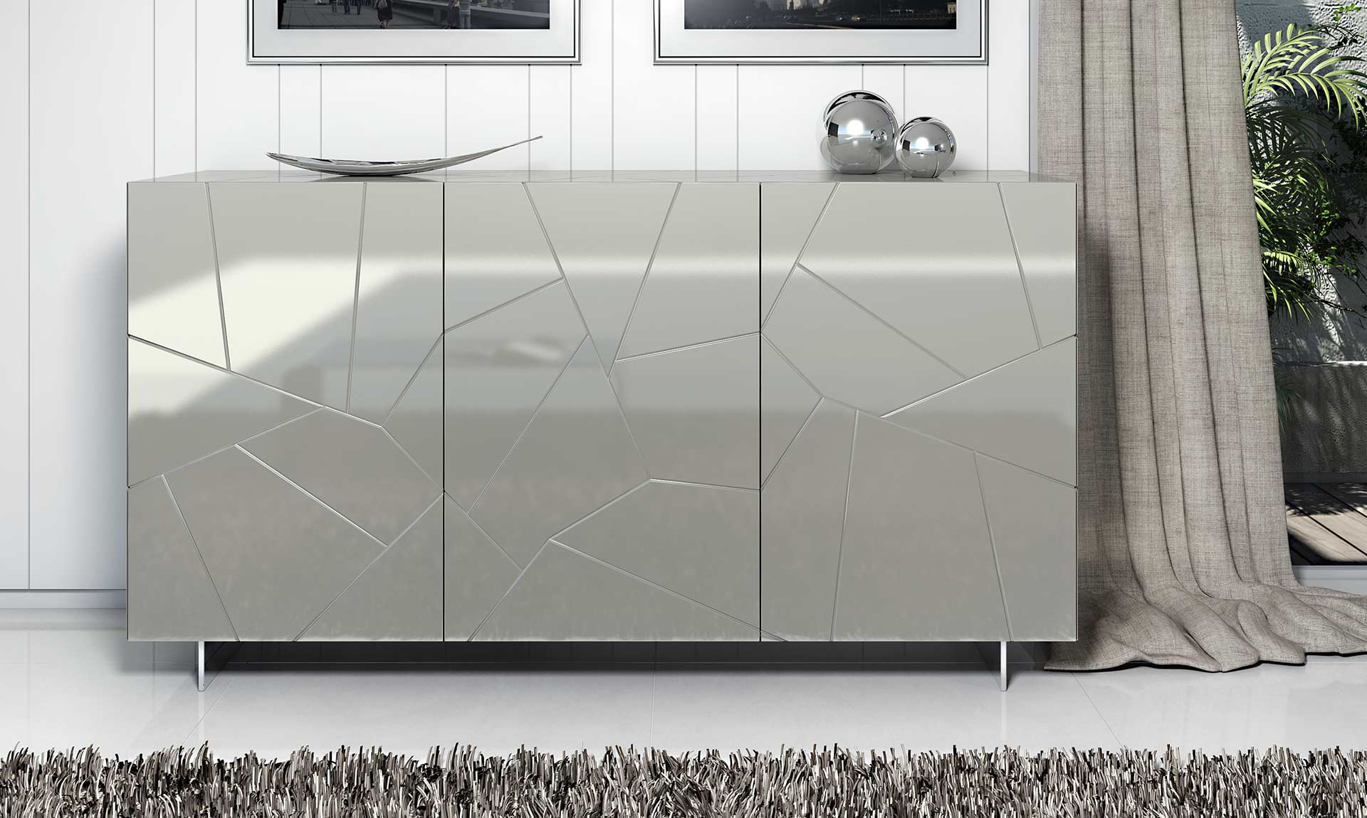 Custom Modern Italian Design sideboard SEGNO by Riflessi - made in Italy-lacquered-sideboard-segno-s3a-riflessi-detail-1