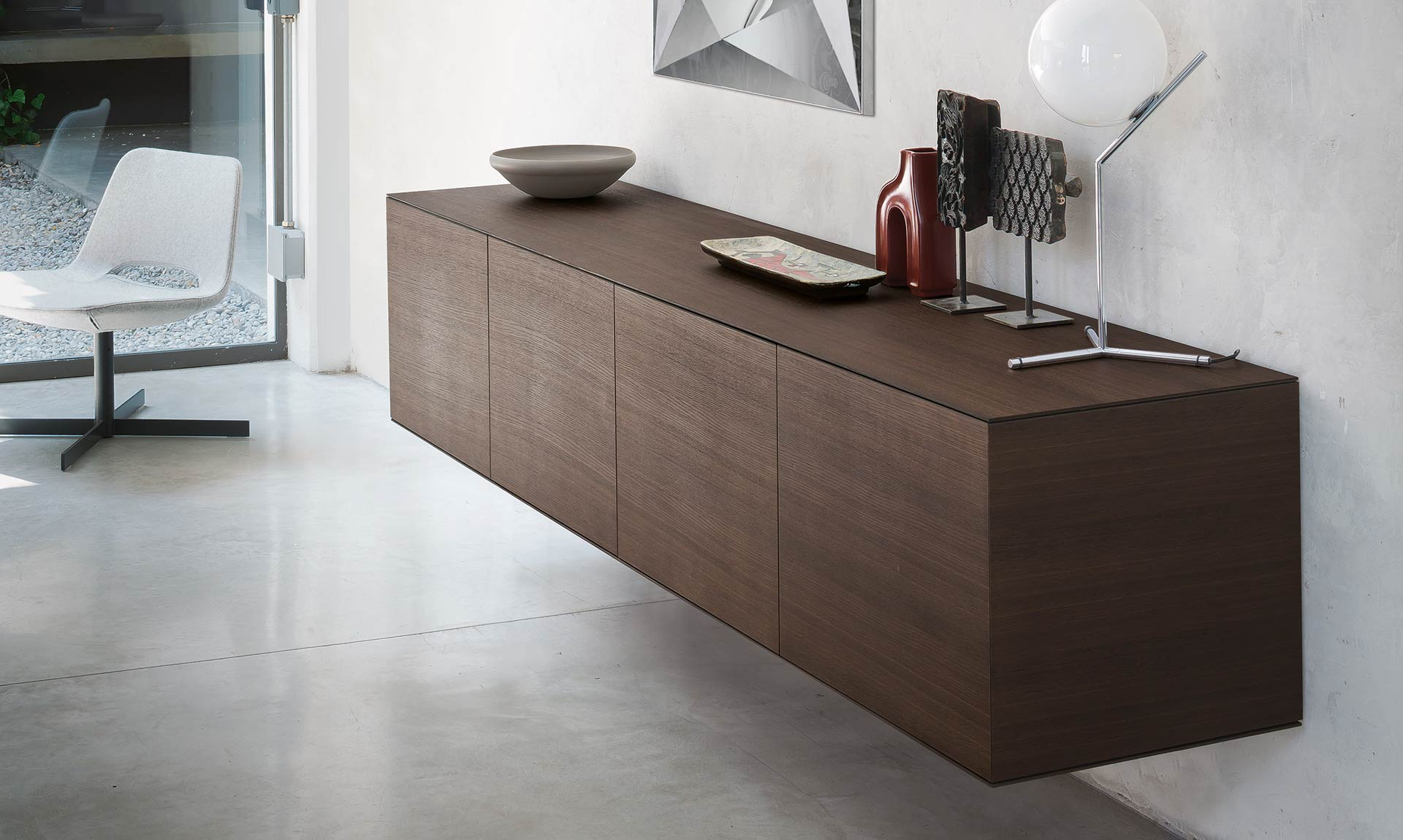 Italian Design Modern sideboard CUBRIC steel diamond by Riflessi-sideboard-wood-linea-riflessi
