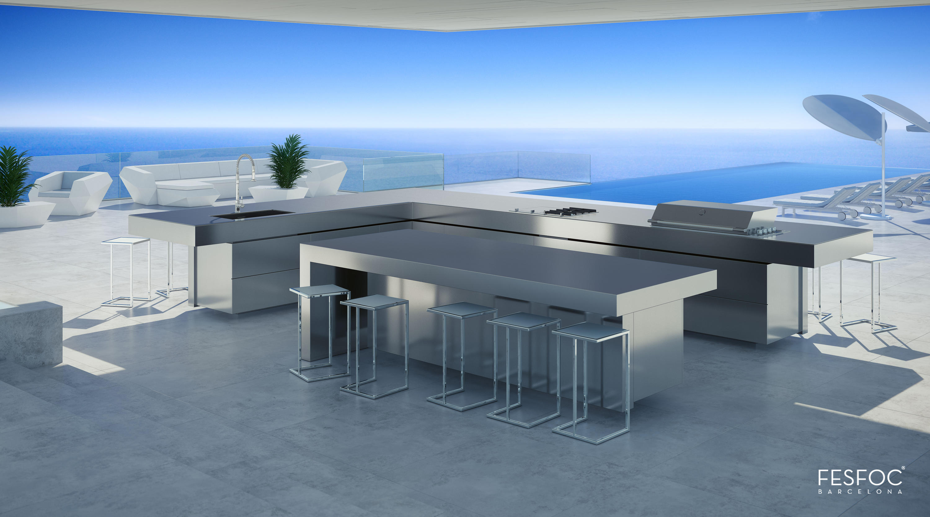 Tredi Interiors Luxury outdoor kitchen  Fesfoc California