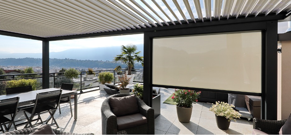 Biossun bioclimatic pergola offers shades or screens for your protection.