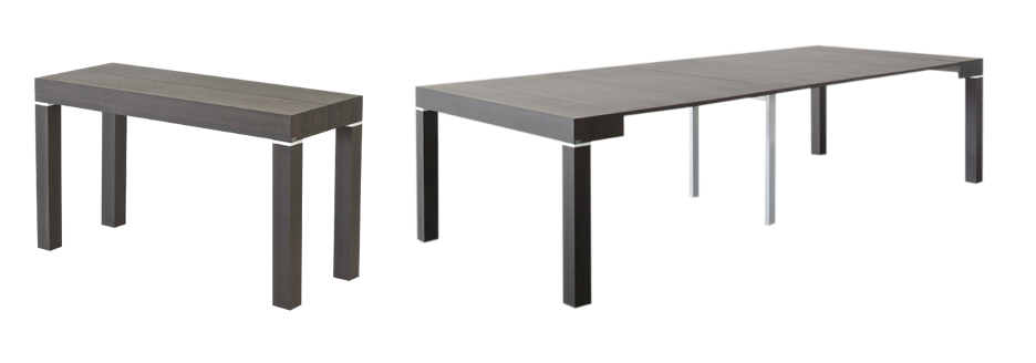 Riflessi's extendable console to table minimum to full size: beautiful in each stage.