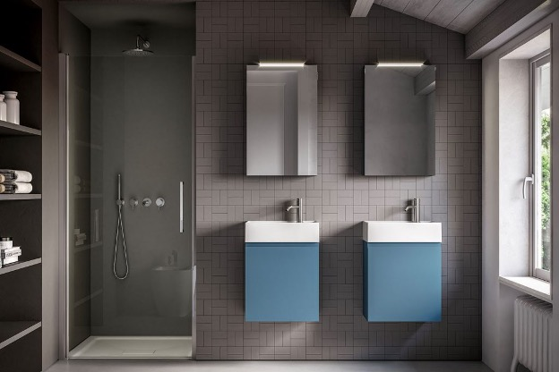 You can have space for two in this Ideagroup bathroom for small  space.